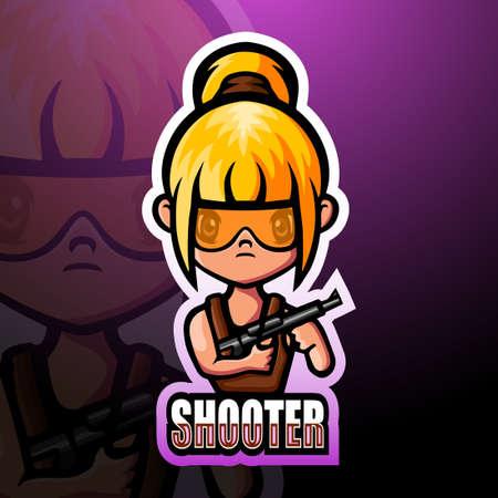 Shooter girl mascot esport logo design