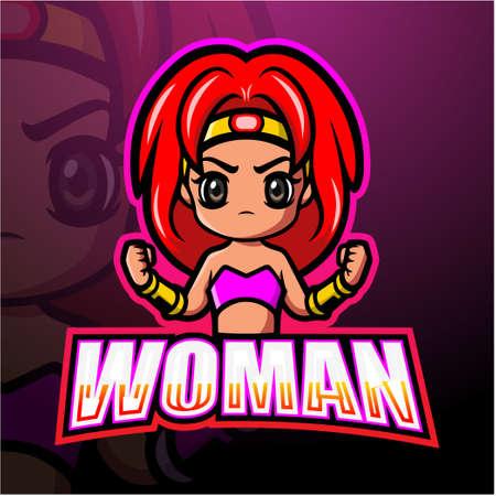 Fighter woman mascot esport logo design
