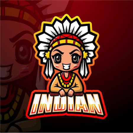 Indian girl mascot esport logo design Çizim