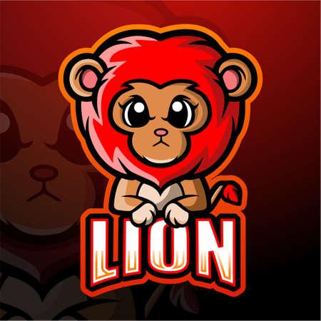 Lion mascot esport logo design Çizim