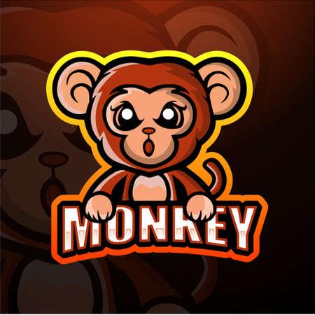 Monkey mascot esport logo design