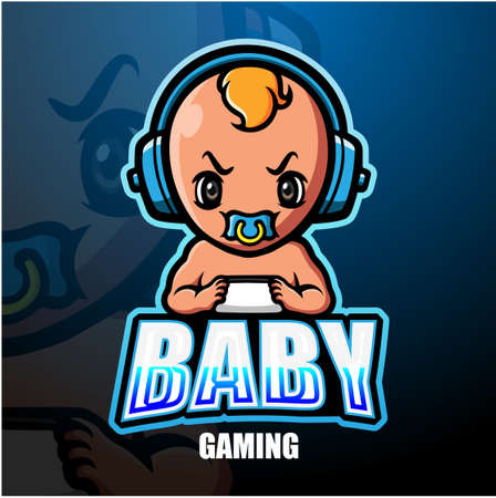 Vector illustration of Baby gaming mascot esport logo design