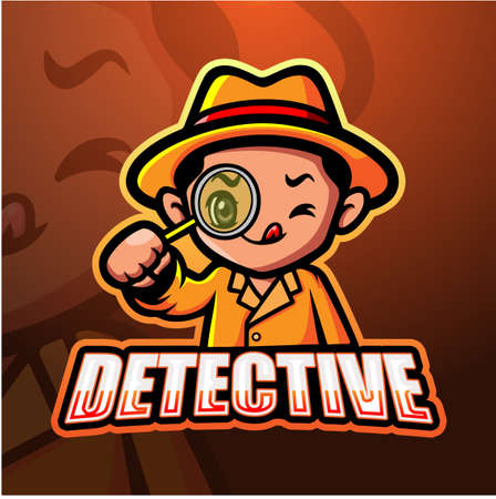 Vector illustration of Detective mascot esport logo design Çizim