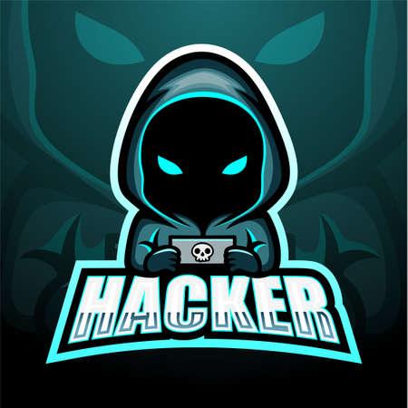 Vector illustration of Hacker mascot esport logo design Çizim