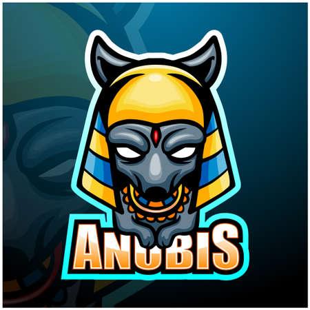 Vector illustration of Anubis mascot esport logo design Çizim