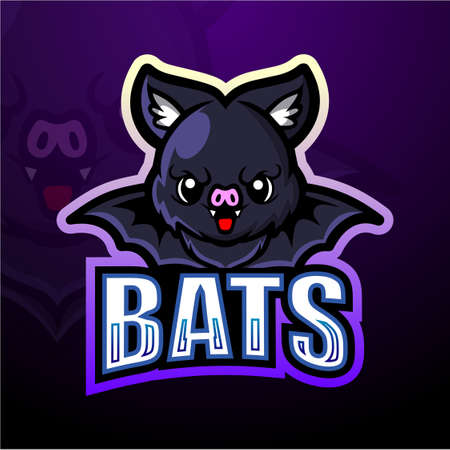 Vector illustration of Bat mascot esport logo design Çizim