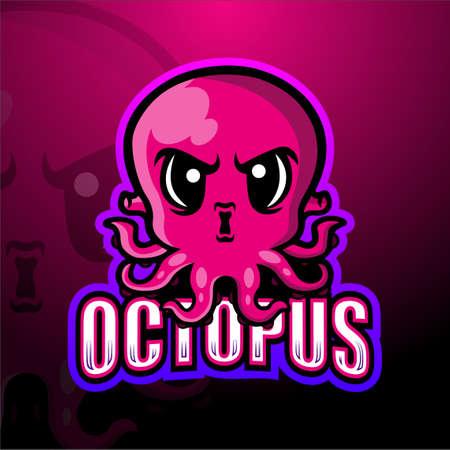 Vector illustration of Octopus mascot esport logo design Çizim