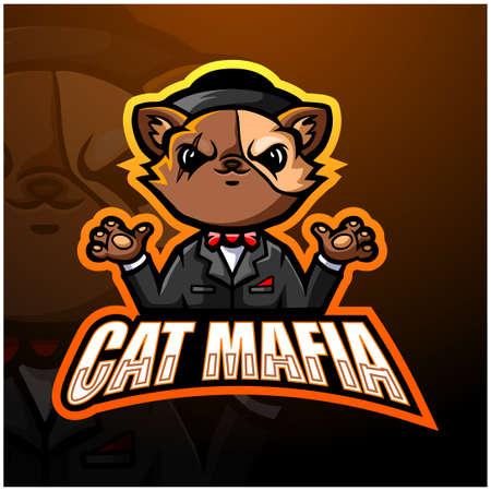 Vector illustration of Cat mafia mascot esport logo design