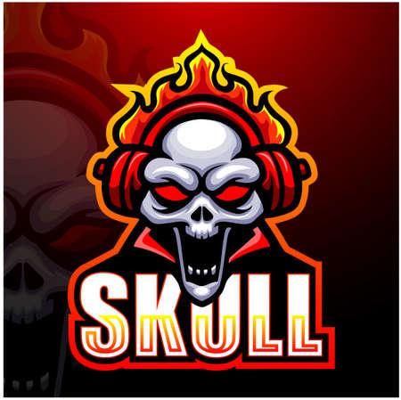 Vector illustration of Skull fire mascot esport logo design