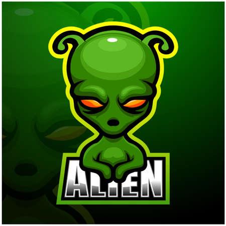 Vector illustration of Alien mascot esport logo design Çizim