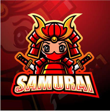 Vector illustration of Samurai mascot esport logo design