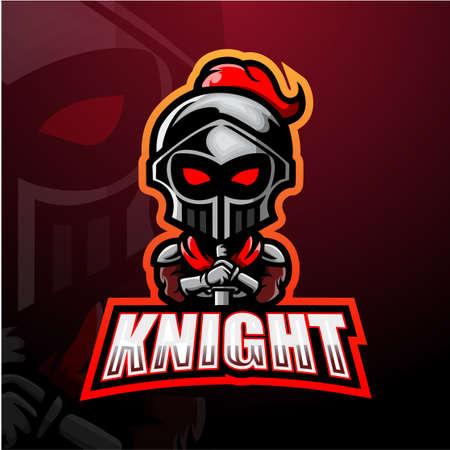 Vector illustration of Knight mascot esport logo design