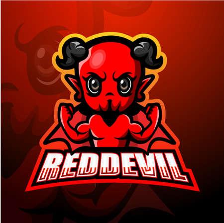 Vector illustration of Red devil mascot esport logo design