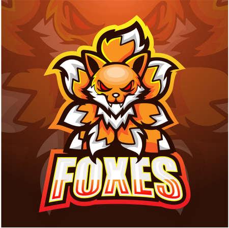 Vector illustration of Foxes mascot esport logo design