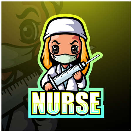 Vector illustration of Nurse mascot esport logo design