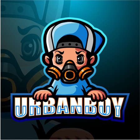 Urban boy mascot esport logo design