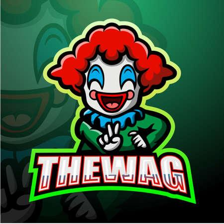Clown mascot esport logo design