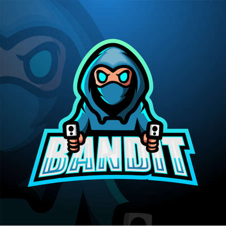 Vector illustration of Bandit shooter mascot esport logo design