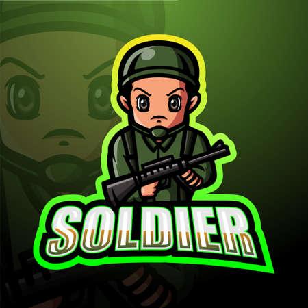Vector illustration of Soldier mascot esport logo design