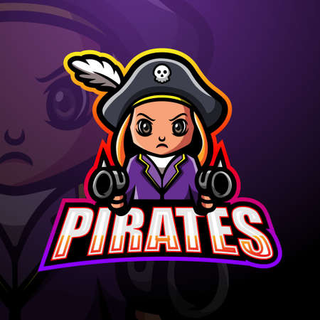 Vector illustration of Pirates shooter esport mascot logo design