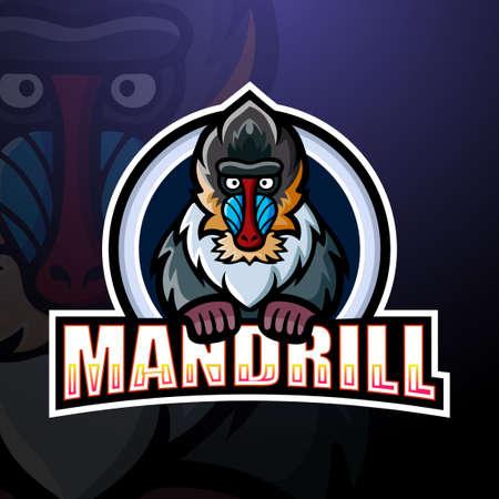 Vector illustration of Mandrill mascot esport logo design Illustration