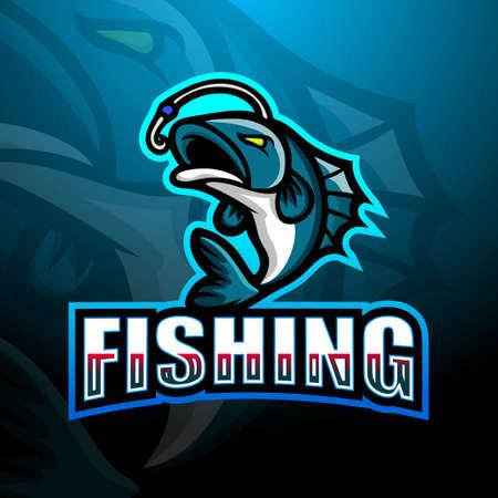 Vector illustration of Fishing mascot esport logo design Vettoriali
