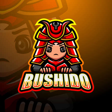 Vector illustration of Bushido mascot esport logo design Çizim