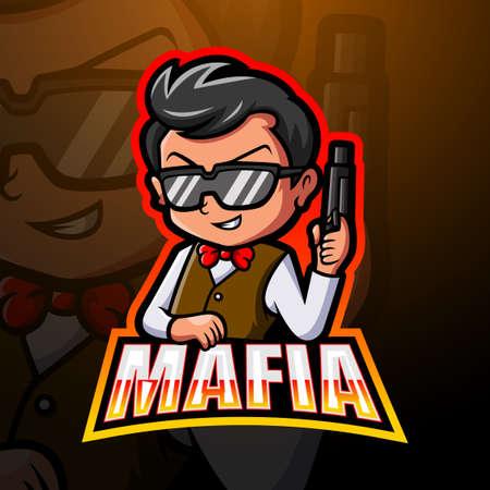 Vector illustration of Mafia mascot esport logo design