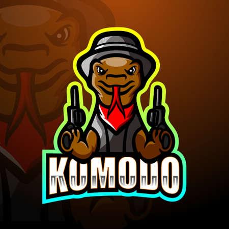 Vector illustration of Komodo mafia mascot esport logo design