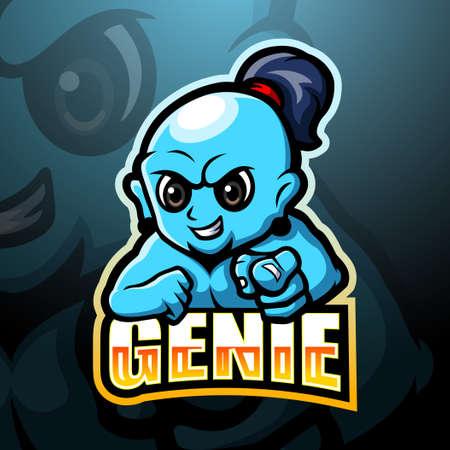 Vector illustration of Genie mascot esport logo design