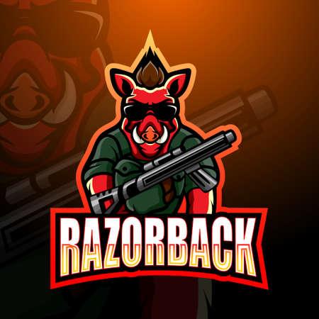 Vector illustration of Razorback gunners mascot esport logo design