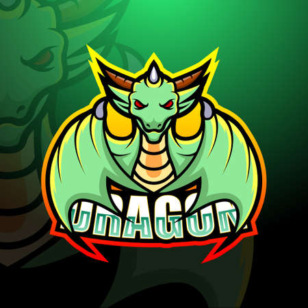 Vector illustration of Dragon mascot esport logo design