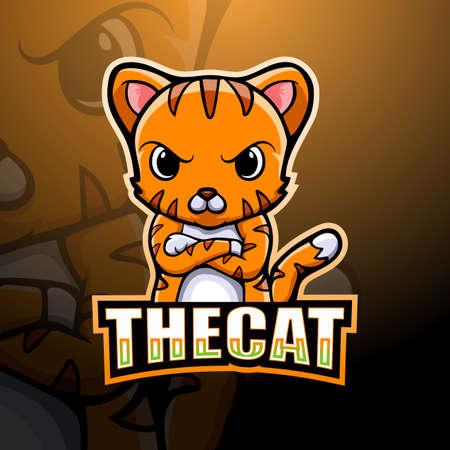 Vector illustration of Cat mascot esport logo design
