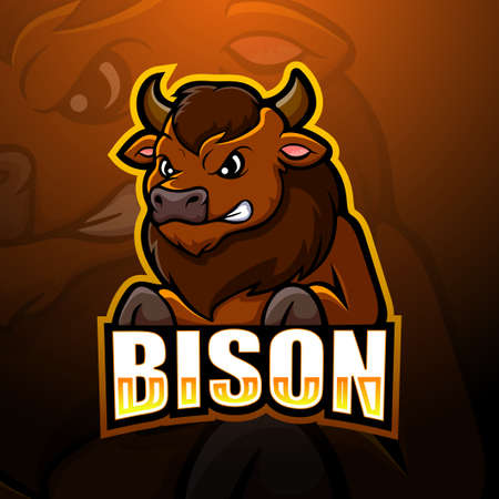 Vector illustration of Bison mascot esport logo design