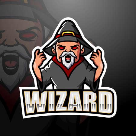 Vector illustration of Wizard mascot esport logo design