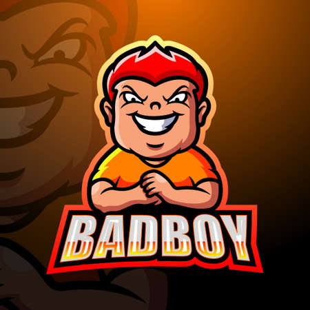 Vector illustration of Bad boy mascot esport logo design