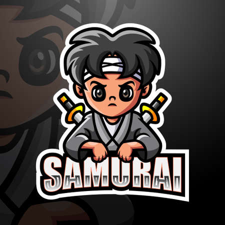Vector illustration of Samurai mascot esport logo design