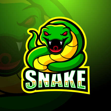 Vector illustration of Green snake mascot esport logo design