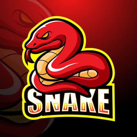 Vector illustration of Red snake mascot esport logo design Ilustração