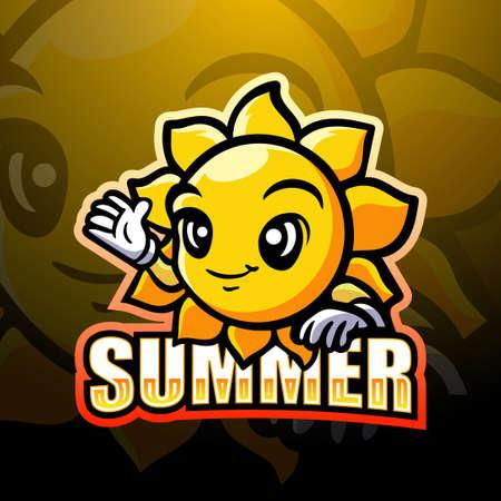 Vector illustration of Sun mascot esport logo design