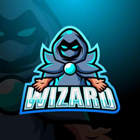 Vector illustration of Wizard mascot esport logo design Çizim