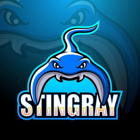 Vector illustration of Stingray mascot esport logo design Logo
