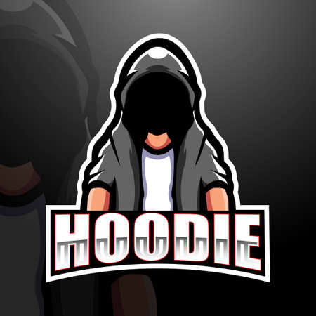 Vector illustration of Mysterious hooded man mascot esport logo design