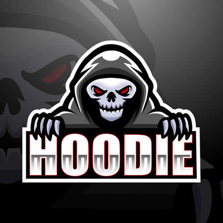 Vector illustration of Hooded skull mascot esport logo design