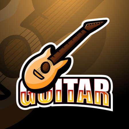 Vector illustration of Cartoon guitar Mascot logo design