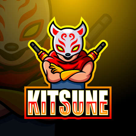 Vector illustration of Kitsune ninja mascot esport logo design