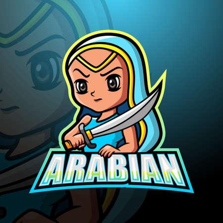 Arabian girl mascot logo design