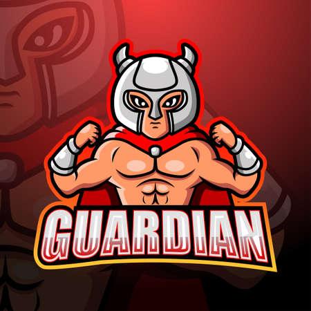 Guardian mascot esport logo design Çizim