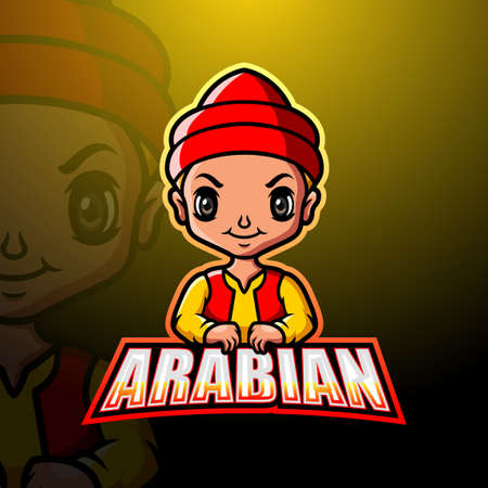 Arabian man mascot logo design Çizim