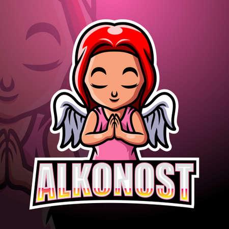 Alkonost mascot esport logo design Çizim